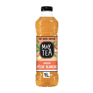 Maytea thé noir infusé glacé pêche la bouteille de 1L.