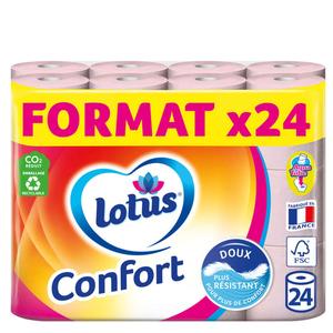 Lotus Papier Toilette Confort Rose x24 rouleaux