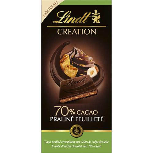 Lindt Création Noir 70% Praliné Feuil 145G