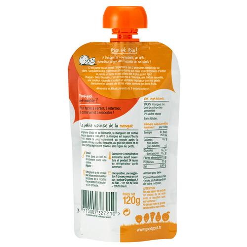 Good Goût Compote Bio Mangue Sans Gluten Dès 4 Mois 120g.
