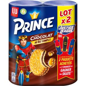 Lu Prince Biscuits fourrés au blé complet parfum chocolat 300g x 2
