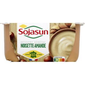 SojaSun Dessert végétal noisettes amandes 4x100g.