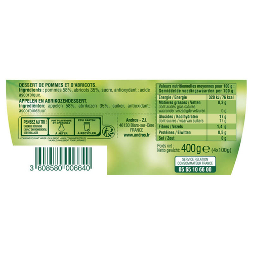 Andros Compote Pomme Abricot 4x100g.