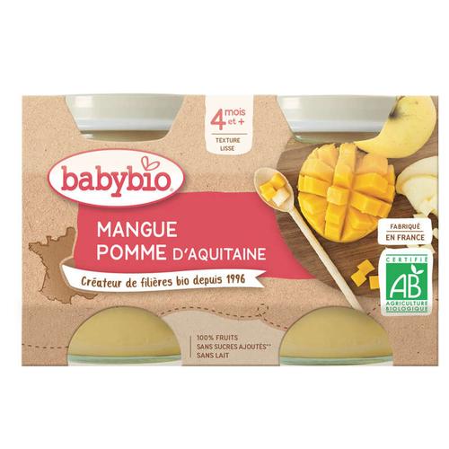 Babybio Compotes Pomme Mangue Dès 4 Mois 2x130g