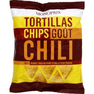 Monoprix Tortillas chips goût Chili 100g.