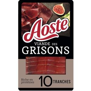 Aoste Spécialités de charcuterie Viande des Grisons 10 tranches 80g