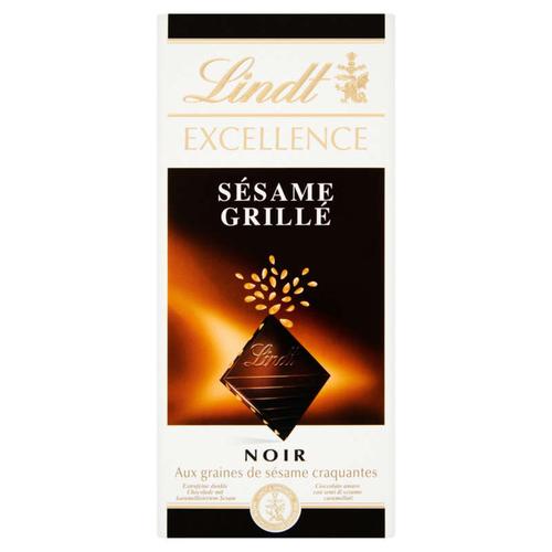 Lindt Excellence tablette chocolat noir sésame grillé 100gr