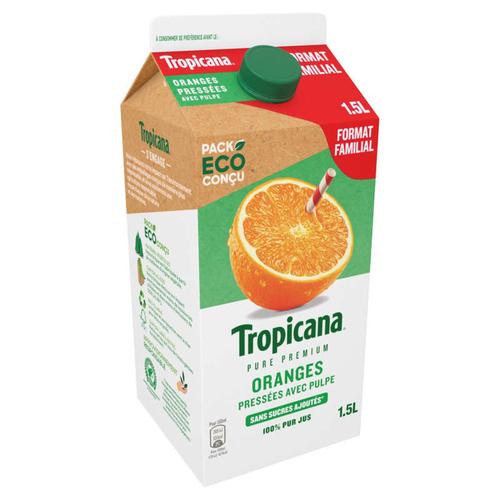 Tropicana Pur Jus Frais d'Orange avec Pulpe la Brique de 1,5L