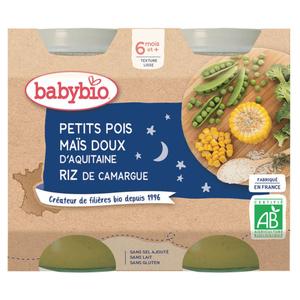 Babybio Petits pots maïs riz, petits pois, dès 6 mois, bio 2x200g