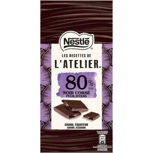Nestle L'atelier tablette Chocolat noir 80% Corsé 100g.