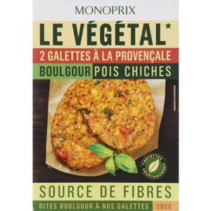 Monoprix le végétal Galettes à la provençale boulgour pois chiches 200g