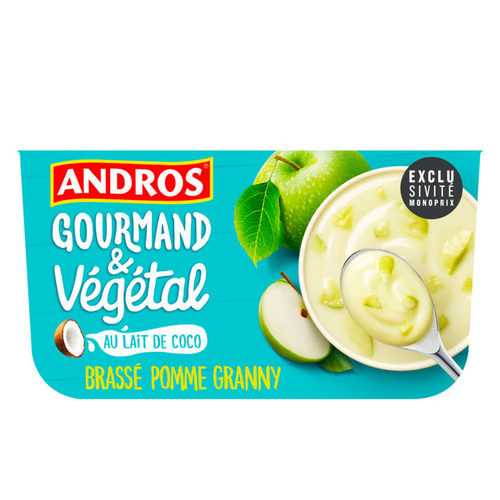 Andros Spécialité végétale fermentée au lait de coco, à la pomme 4x100g.