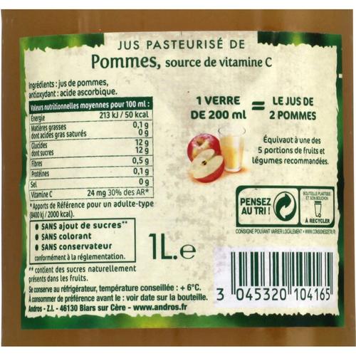 Andros Jus de Pommes Sans Sucres Ajoutés 1L