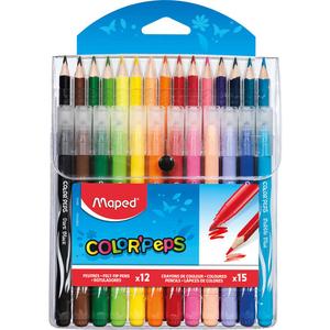 Maped 12 feutres + 15 crayons de couleur Color'Peps.