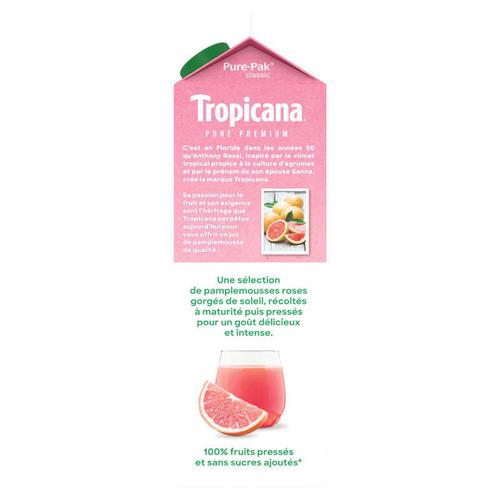 Tropicana Pur Jus Frais de Pamplemousse Rose la Brique de 1L