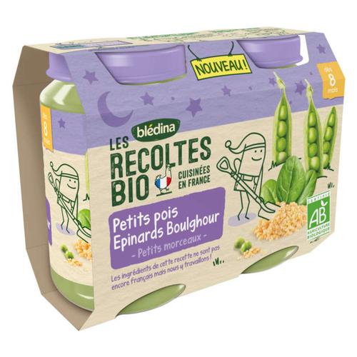 Les Recoltes Bio Petits Pois Epinards Boulghour dès 8 Mois 2 x 200g