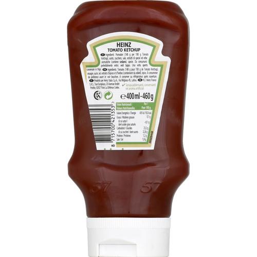 Heinz Tomato ketchup Flacon Top down 460g.