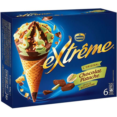 Nestlé Cônes Extrême Chocolat Pistache pépites de Nougatine 6x71g