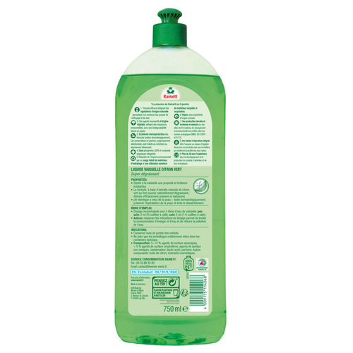 Rainett Liquide Vaisselle Main dégraissant Citron Vert 750 ml.