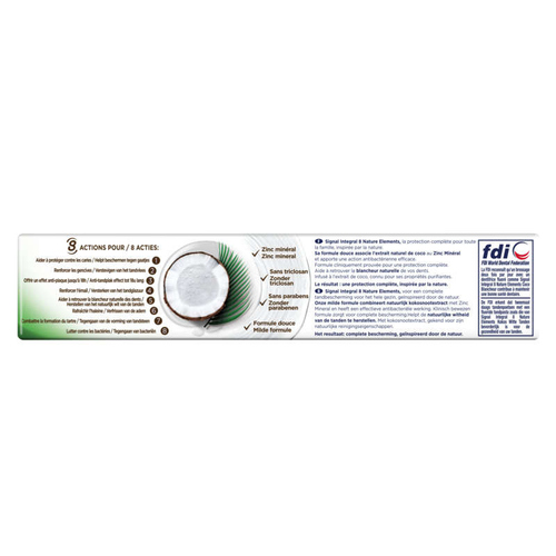 Signal Dentifrice Integral 8 Nature Elements Coco Blancheur 75ml