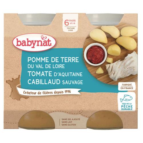 Babybio Petits Pots Pommes De Terre Et Cabillaud 6M 2x200g Bio