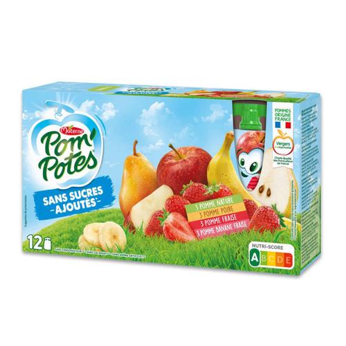 Pom'potes Pomme/Pomme Poire/Pomme Fraise/Pomme Banane Fraise 12x90g.