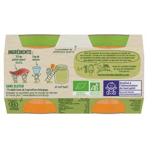 Blédina Petits Pots Bio Patates Douces Dès 4/6 Mois 2x130g