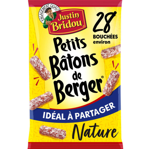Justin Bridou Saucisson Petits Bâton Berger Nature Apéritif 160g.