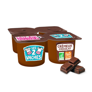 Les 2 vaches Crème dessert chocolat Bio 4x95g