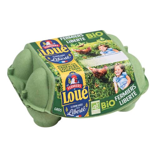 Loué Oeuf Fermier Gros Bio Boîte x6