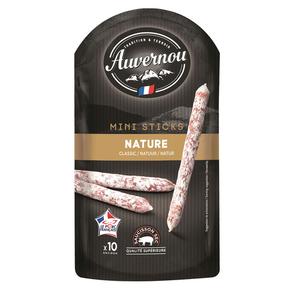 Auvernou Mini Sticks Saucisson Sec Nature x10, 100g.