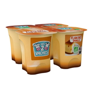 Les 2 vaches Flan vanille caramel bio 4x100g