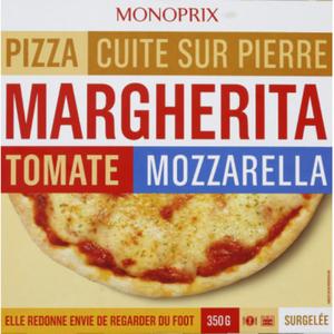 Monoprix pizza margherita surgelée 400g.