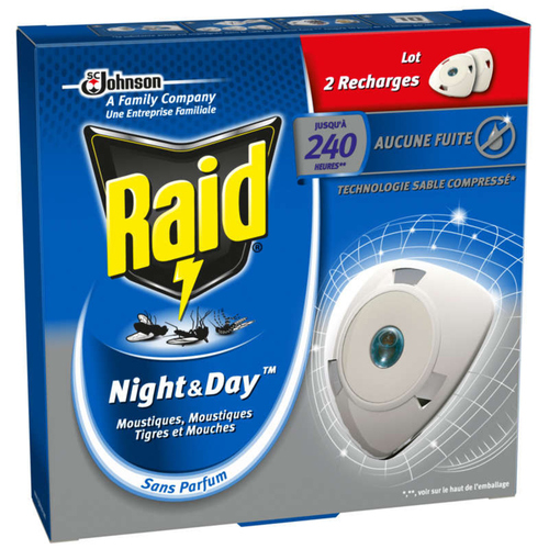 Raid Diffuseur Double Recharge Anti-Moustiques Night and Day Paquet x2